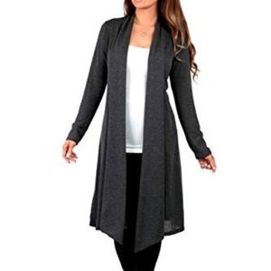 Knee Length Draped Hacci Cardigan Charcoal 2XL